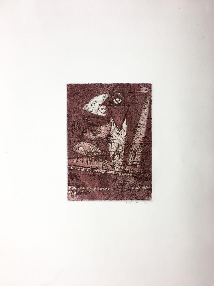 Eau-Forte Et Aquatinte Ernst - Gravure pour : MORT AUX VACHES ET AU CHAMP D'HONNEUR (1950). Tirage à part.