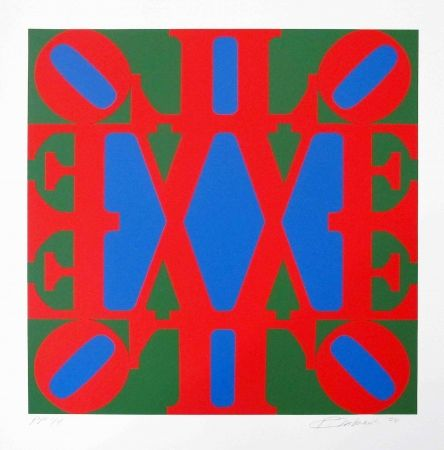 Sérigraphie Indiana - Great Love, Red, Green, Blue 'v' Centre