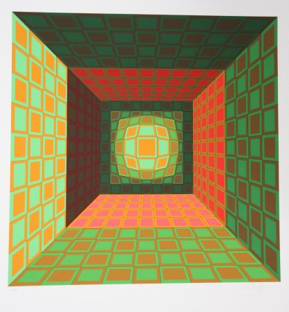 Sérigraphie Vasarely - Green and Orange Composition