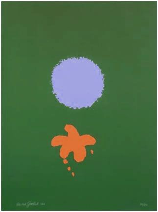 Sérigraphie Gottlieb - Green Ground, Blue Disk (1966)