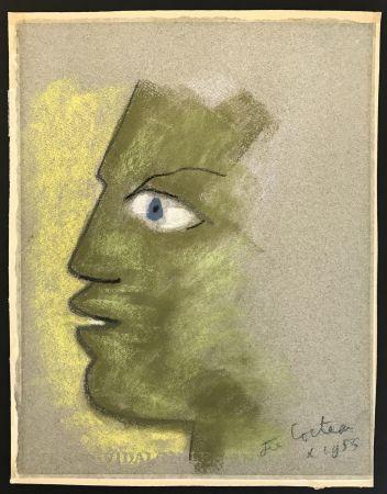 Aucune Technique Cocteau - Green Profile on Grey Background