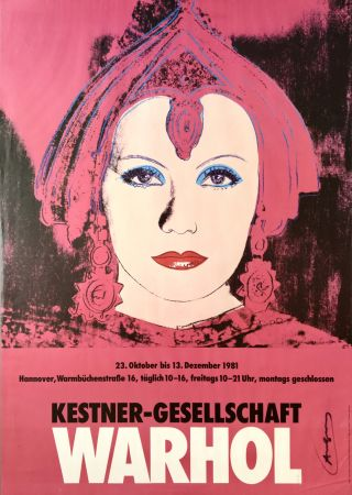 Lithographie Warhol - 'Greta Garbo' Hand Signed Exhibition Poster 1981