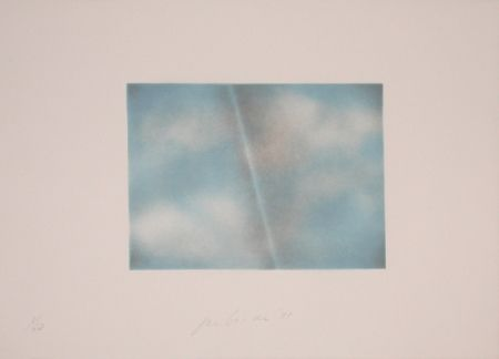 Lithographie Goode - Grey Folded Clouds - II Blue and white