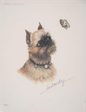 Eau-Forte Danchin - Griffon Bruxellois et papillon - Brussel Griffon and butterfly