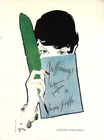Lithographie Gruau - Griffonage  Parfum De Jacques  Griffe
