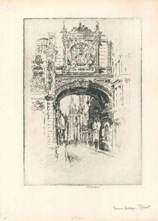 Gravure Pennell - Grosse horloge, Rouen
