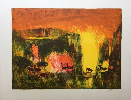 Lithographie Lebadang - Grotte aux biches