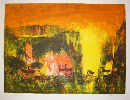 Lithographie Lebadang - Grotte aux biches