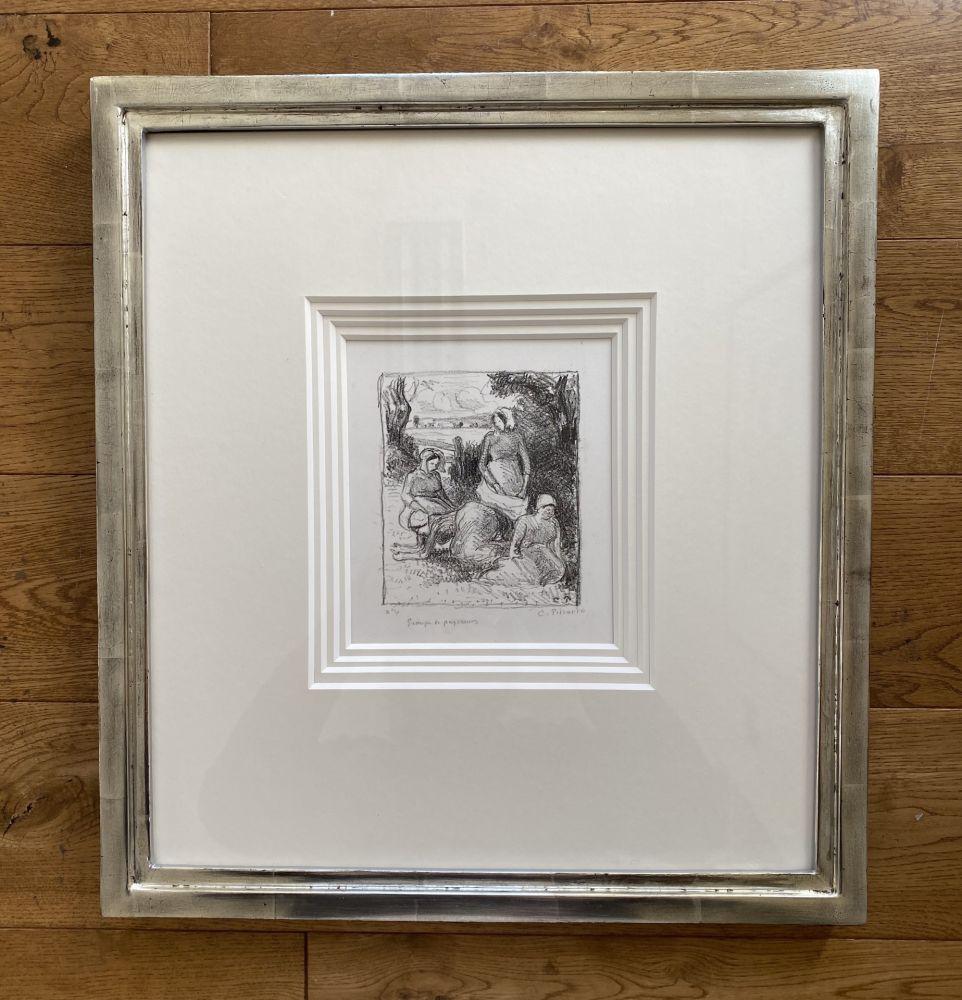 Lithographie Pissarro - Group de paysans