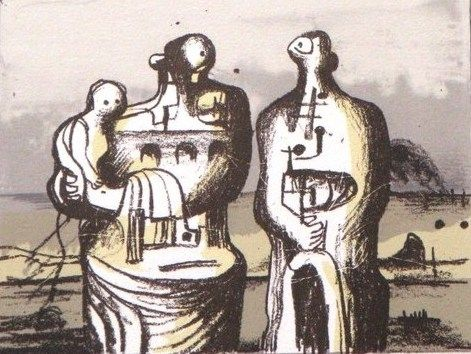 Lithographie Moore - Group in industrial landscape C. 418