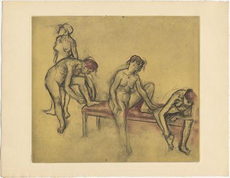 Eau-Forte Et Aquatinte Degas - Groupe de danseuses (étude du nus et mouvements. 1897)