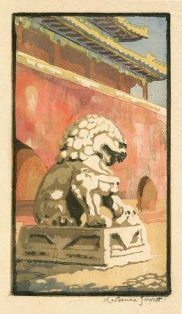 Linogravure Jowett  - Guardian of the Gate
