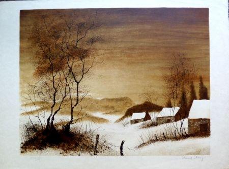 Lithographie Charoy - Hameau en Hiver