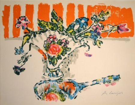 Lithographie Carigiet - (Handspiegel vor Blumenvase