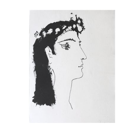 Gravure Picasso - Head of a Woman Crowned with Flowers