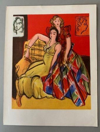 Lithographie Matisse - Henri Matisse – Deux jeunes filles, robe jaune, robe ecossaise