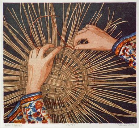 Gravure Sur Bois Schwaberow - Her Hands