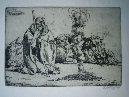 Gravure Scheller - Hirt am Feuer