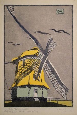 Gravure Sur Bois Cunz - Holländische Windmühle
