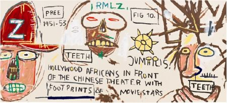 Sérigraphie Basquiat - Hollywood Africans in front of the Chinese Theater with Footprints of Movie Stars