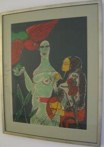 Lithographie Corneille - Homage a Eric Satie