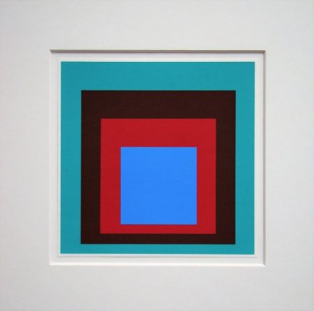 Sérigraphie Albers - Homage to the Square - Protected Blue,1957