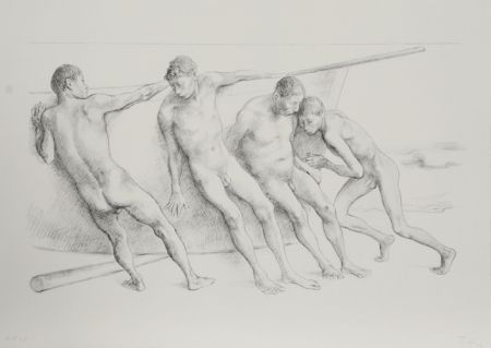 Lithographie Zuniga - Hombres con Barca I