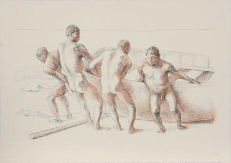 Lithographie Zuniga - Hombres con Barca II