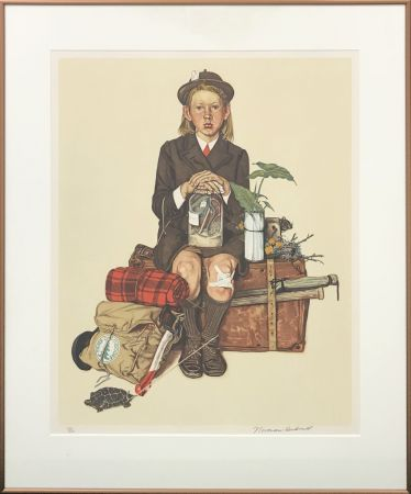 Lithographie Rockwell  - HOME FROM CAMP