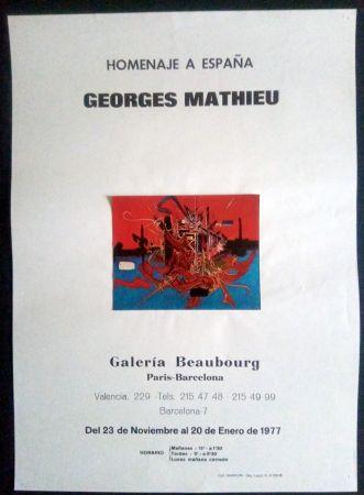 Affiche Mathieu - Homenaje a España - Galeria Beaubourg Paris - Barcelona 1977