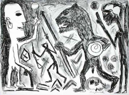 Lithographie Penck - Homer u. Aristoteles, 1 Blatt