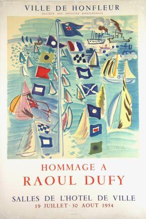 Lithographie Dufy - Hommage à Raoul Dufy  Ville de Honfleur