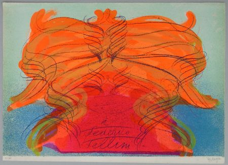 Lithographie Messagier - Hommage a Fellini