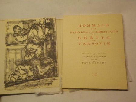 Livre Illustré Mendjizki -  Hommage aux martyrs et aux combattants du Ghetto de Varsovie. Trente et un dessins de Maurice Mendjizki. Poème de Paul Eluard.