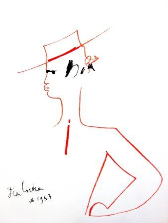 Lithographie Cocteau - Homme au Chapeau
