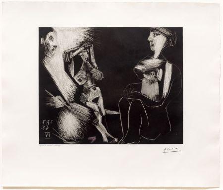 Aquatinte Picasso - Homme avec Deux Femmes Nues