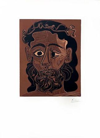 Linogravure Picasso - Homme barbu couronné de vignes