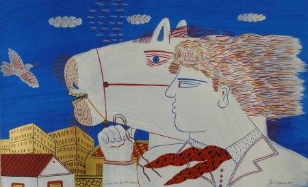 Lithographie Fassianos - Homme et cheval