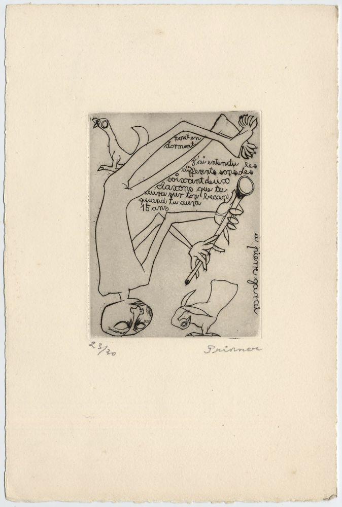 Eau-Forte Prinner - Homme jouant du pipeau (1938)