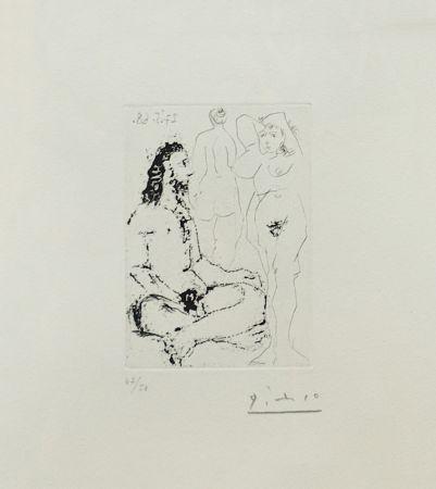 Gravure Picasso - HOMME NU ASSIS EN TAILLEUR (BLOCH 1600)