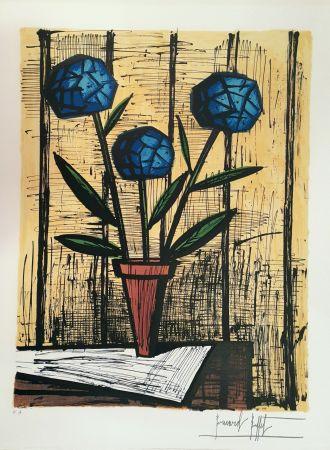 Lithographie Buffet - Hortensias Bleus