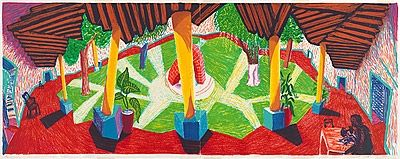 Lithographie Hockney - Hotel, Acatlan: two weeks later