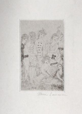 Gravure Laurencin - Huit filles dans un pré