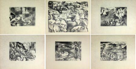Lithographie Lhote - HUIT LITHOGRAPHIES POUR L'OR DE BLAISE CENDRARS (1938).
