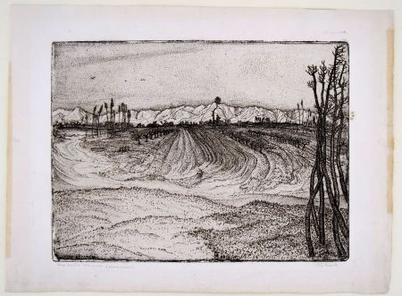 Gravure Bozzetti -  I CAMPI DEVASTATI DALLA PIENA (The fields devastated by the flood), second version.