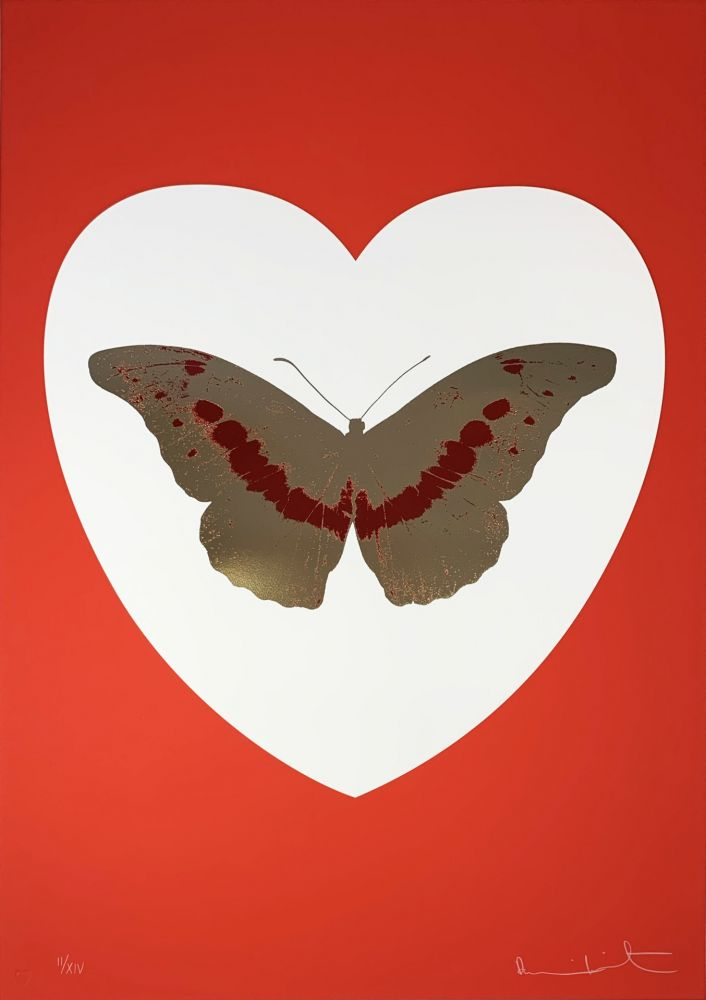 Sérigraphie Hirst - I Love You - White/Red/Cool Gold/Poppy Red