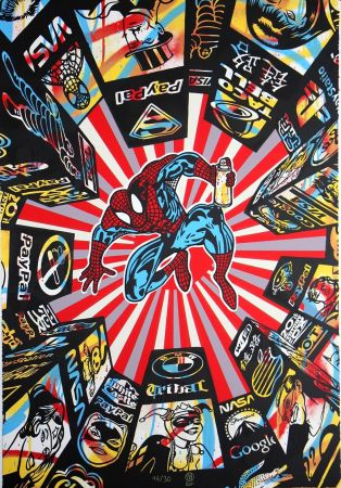 Sérigraphie Speedy Graphito - I Spray My City (Spiderman)