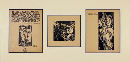 Gravure Sur Bois Felixmuller  - Ich und meine Frau (Me and my wife), Geburt (Birth), Mann und Frau (Husband and Wife)