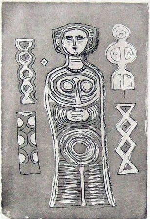 Eau-Forte Et Aquatinte Campigli - Idolo su fondo scuro