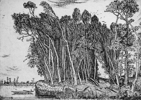 Eau-Forte Bozzetti - Il bosco in riva al fiume: sera